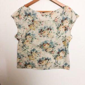 Anthropologie Odille Linen Floral Tie-Back Top 2